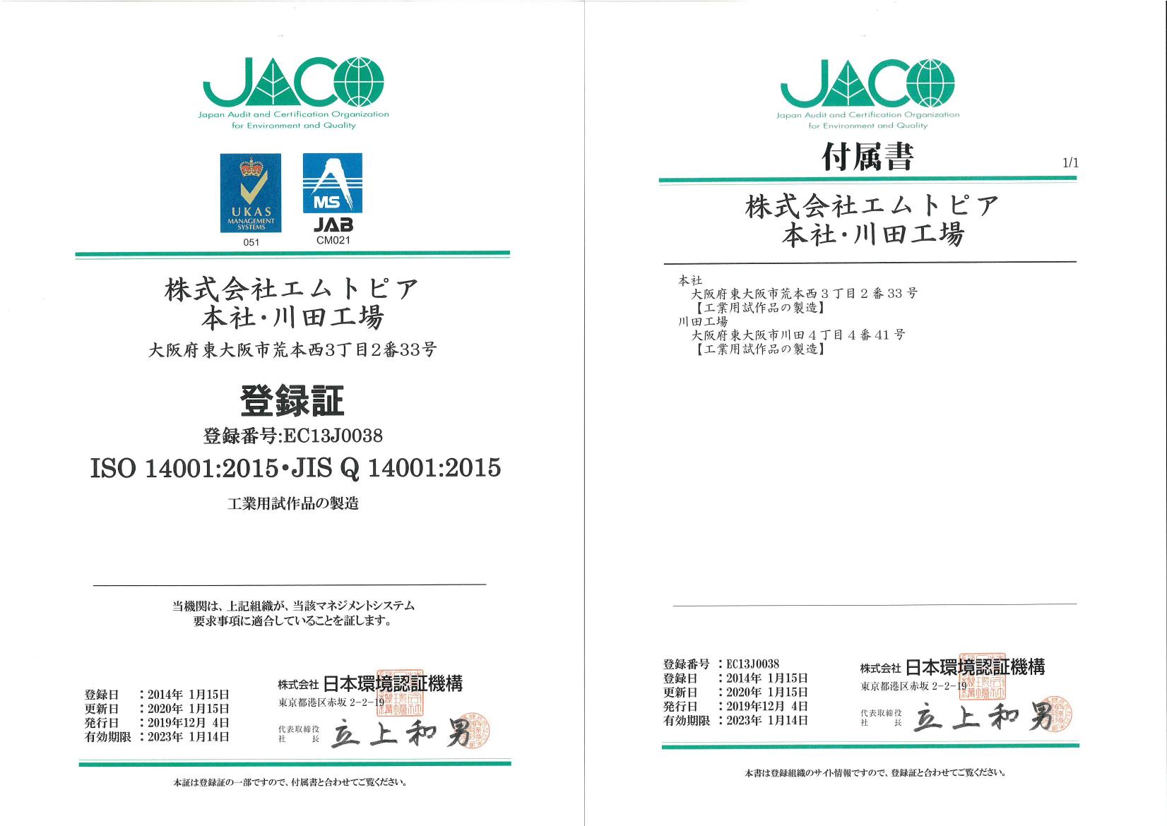 ISO14001:2008 認証内容